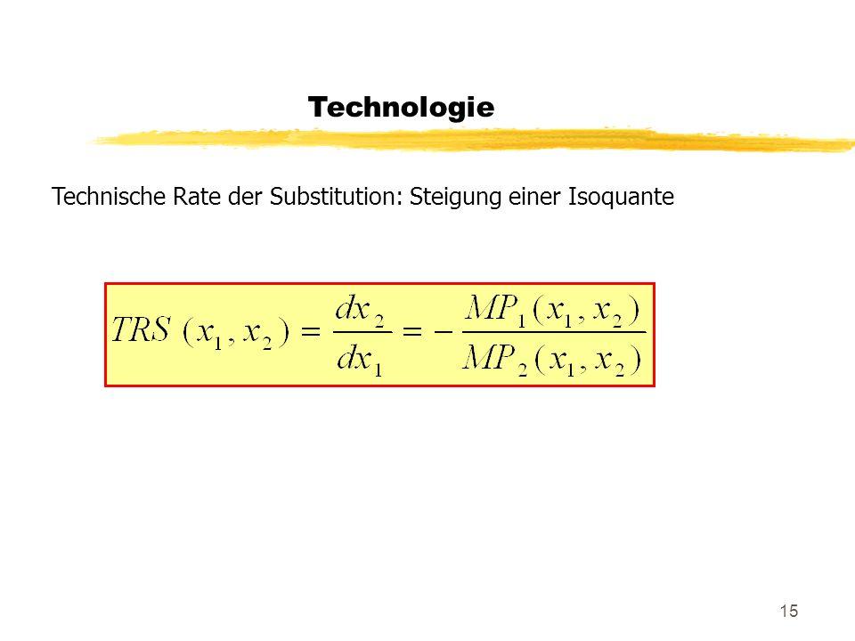 Technologie Technische Rate der Substitution: Steigung einer Isoquante