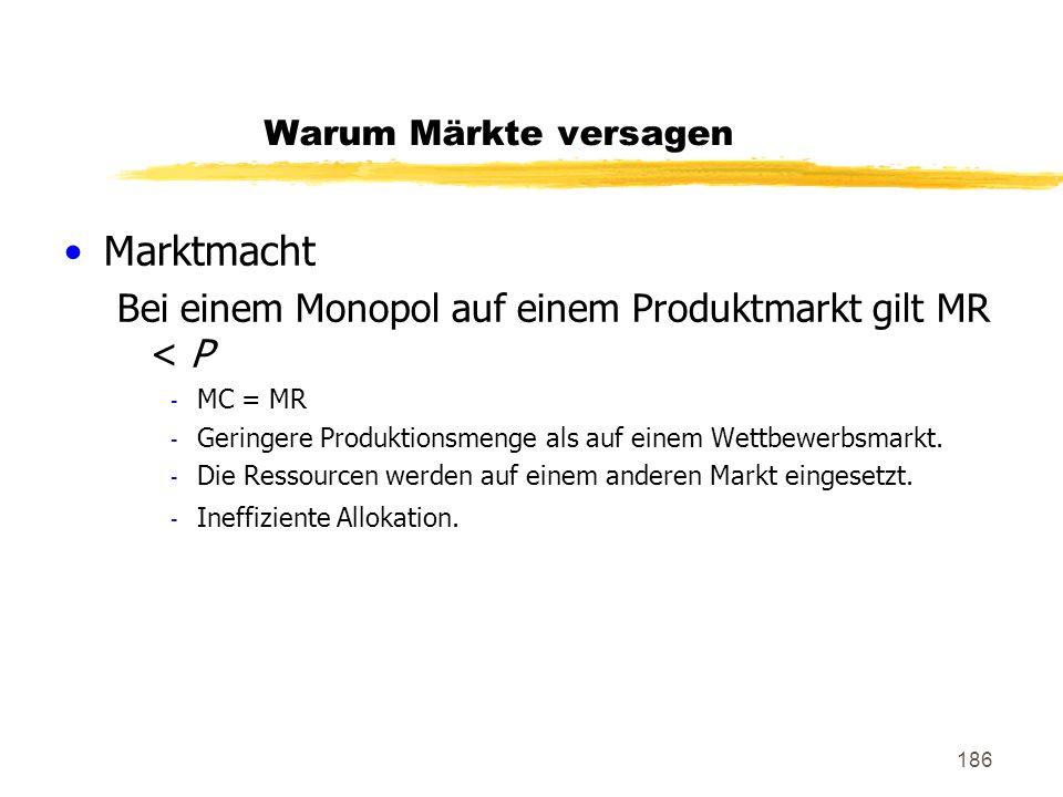 Marktmacht Bei einem Monopol auf einem Produktmarkt gilt MR < P
