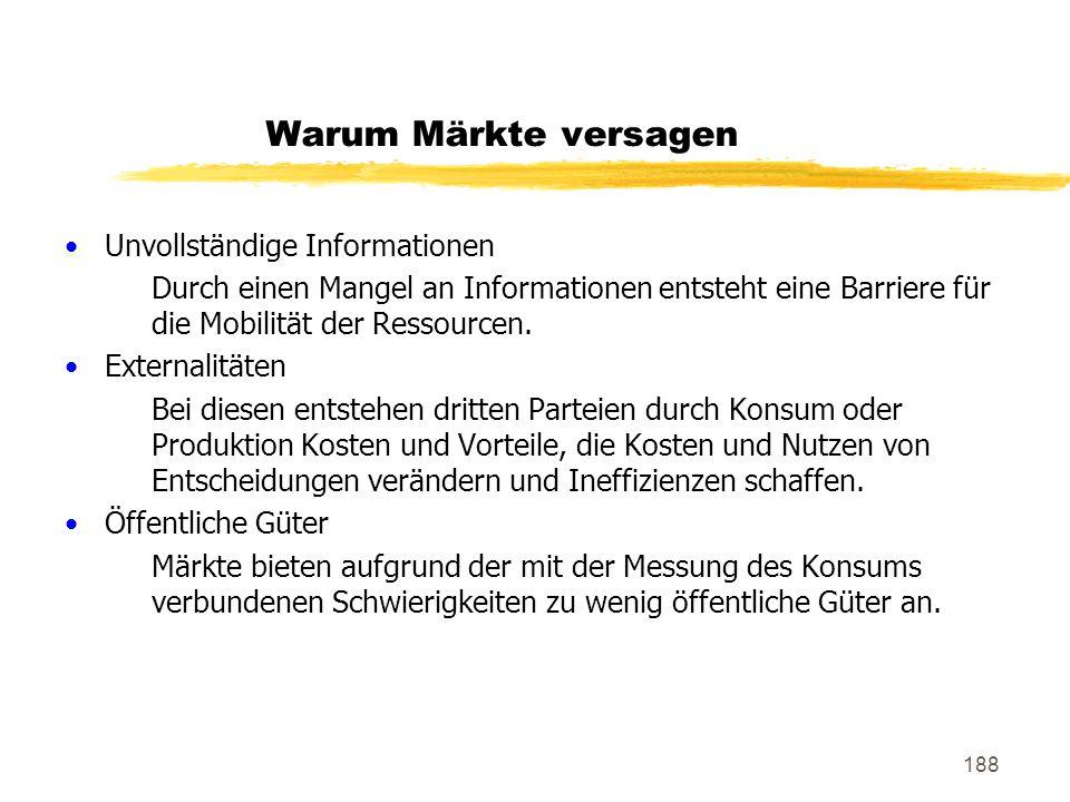 Warum Märkte versagen Unvollständige Informationen