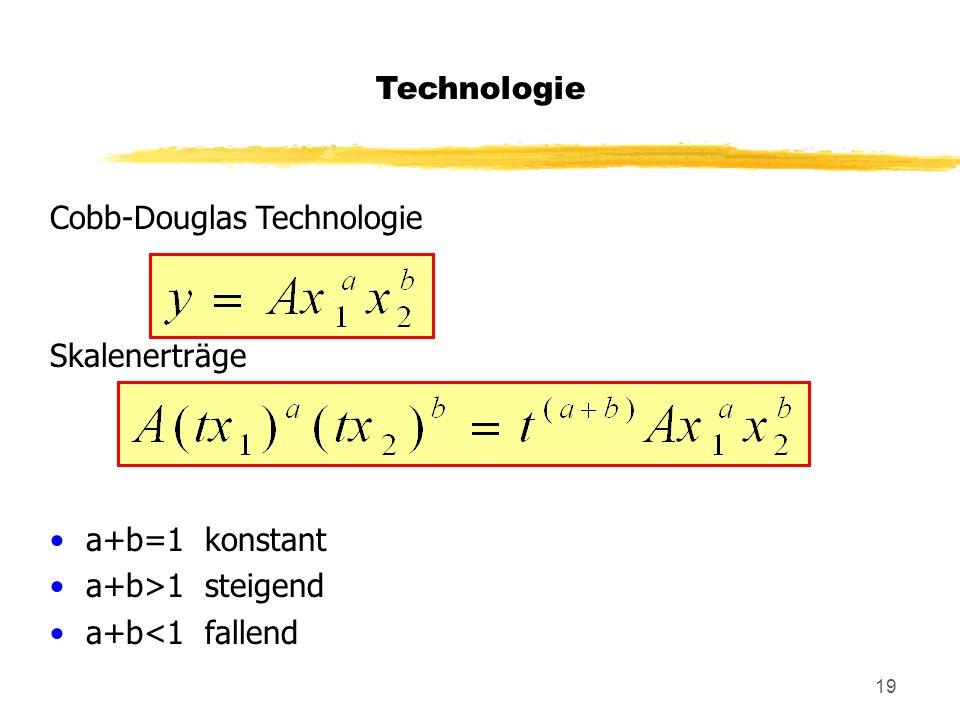 Technologie Cobb-Douglas Technologie Skalenerträge a+b=1 konstant a+b>1 steigend a+b<1 fallend