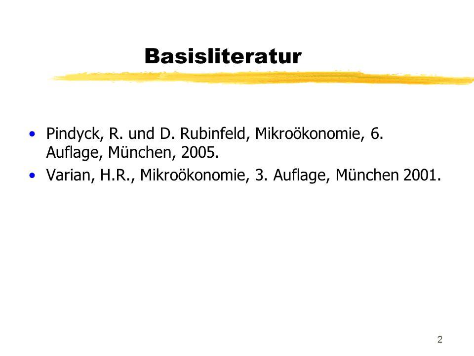 Basisliteratur Pindyck, R. und D. Rubinfeld, Mikroökonomie, 6.