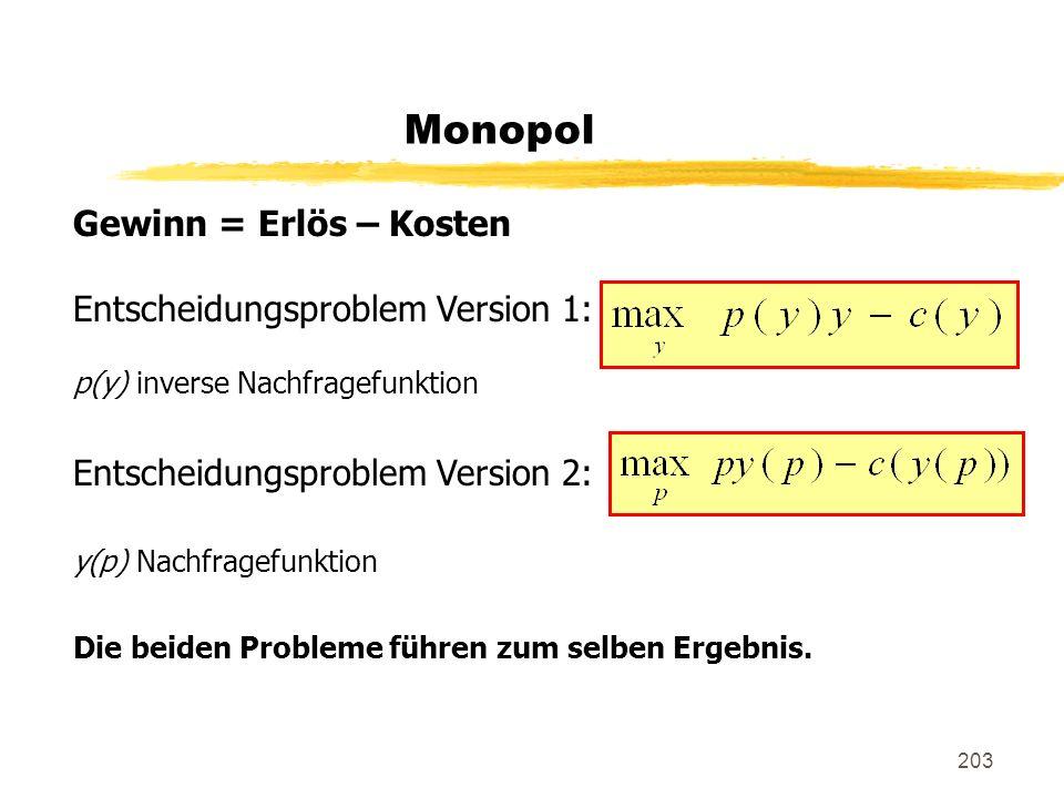 Monopol Gewinn = Erlös – Kosten Entscheidungsproblem Version 1: