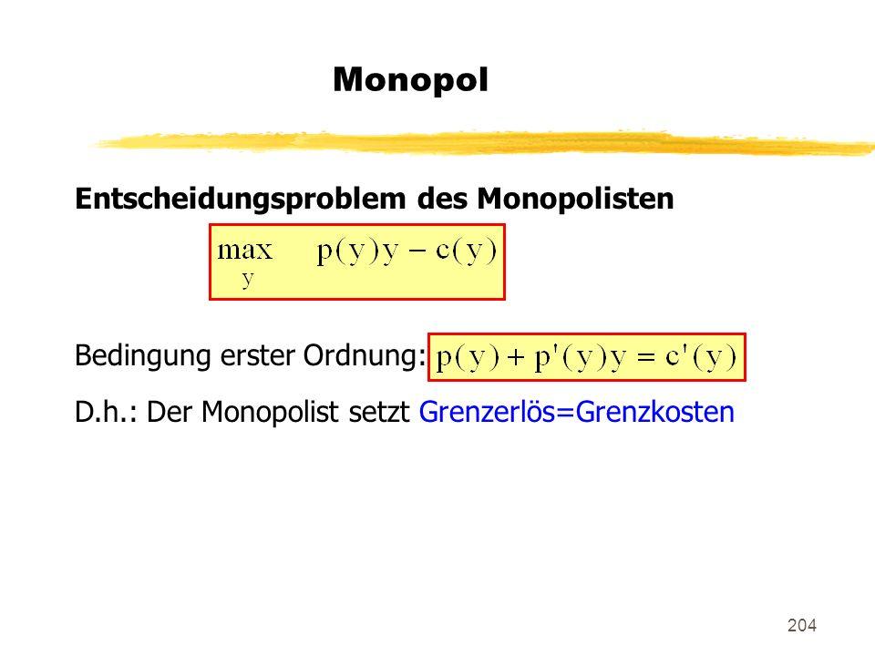 Monopol Entscheidungsproblem des Monopolisten