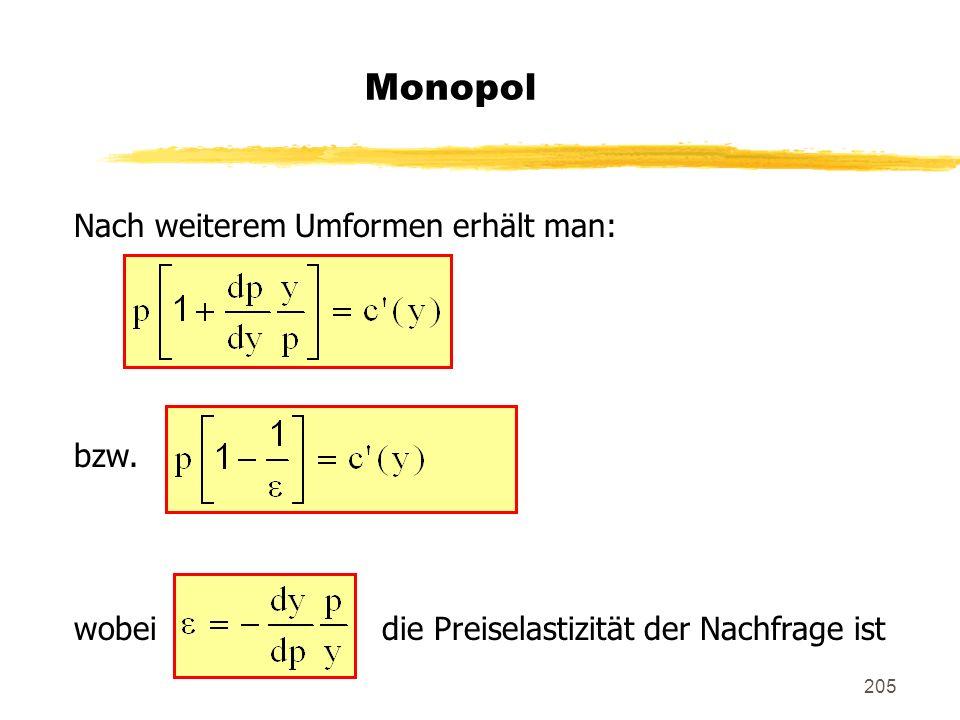 Monopol Nach weiterem Umformen erhält man: bzw.