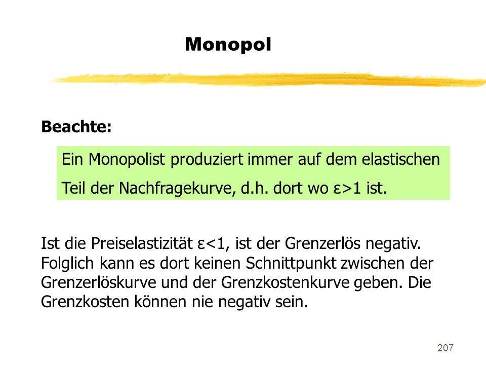 Monopol Beachte: Ein Monopolist produziert immer auf dem elastischen