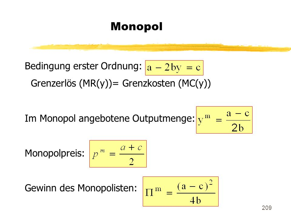 Monopol Bedingung erster Ordnung: