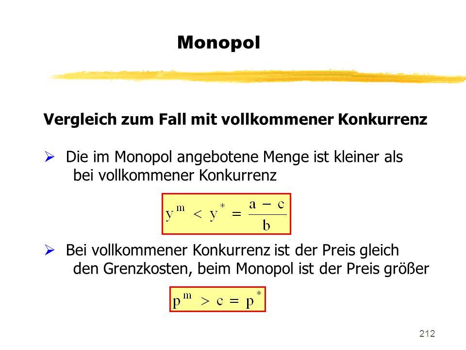 Monopol Vergleich zum Fall mit vollkommener Konkurrenz