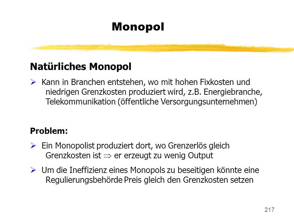 Monopol Natürliches Monopol