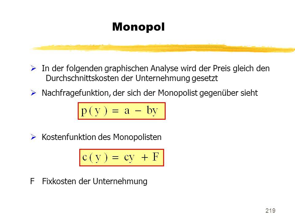 Monopol In der folgenden graphischen Analyse wird der Preis gleich den Durchschnittskosten der Unternehmung gesetzt.