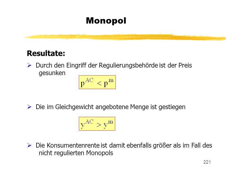 Monopol Resultate: Durch den Eingriff der Regulierungsbehörde ist der Preis gesunken. Die im Gleichgewicht angebotene Menge ist gestiegen.