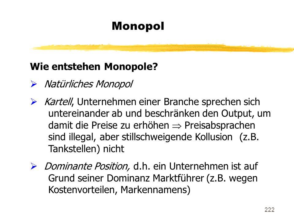 Monopol Wie entstehen Monopole Natürliches Monopol