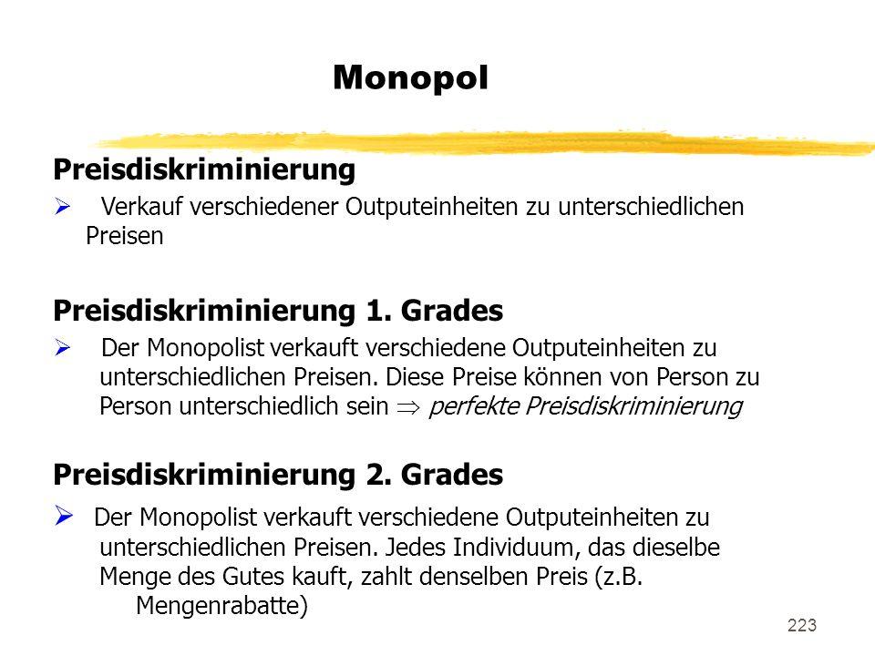 Monopol Preisdiskriminierung Preisdiskriminierung 1. Grades