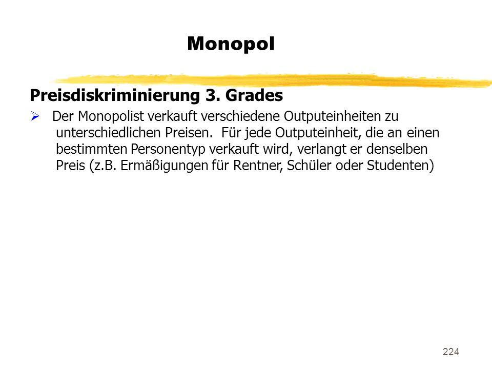 Monopol Preisdiskriminierung 3. Grades