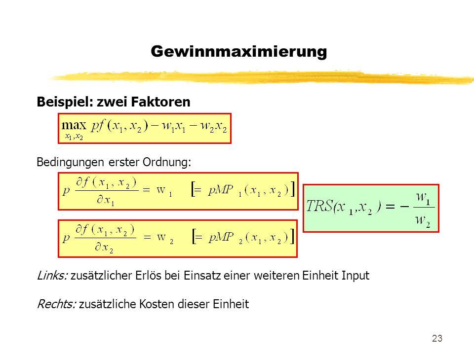 Gewinnmaximierung Beispiel: zwei Faktoren Bedingungen erster Ordnung:
