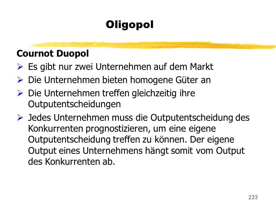 Oligopol Cournot Duopol Es gibt nur zwei Unternehmen auf dem Markt