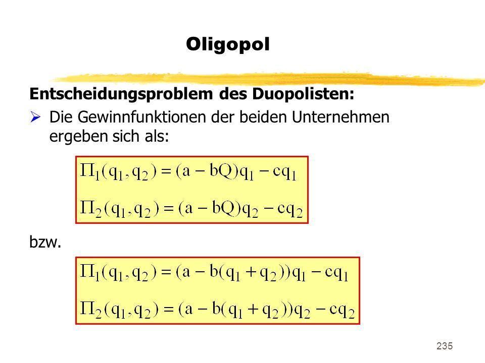 Oligopol Entscheidungsproblem des Duopolisten: