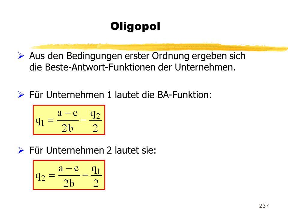 Oligopol Aus den Bedingungen erster Ordnung ergeben sich die Beste-Antwort-Funktionen der Unternehmen.