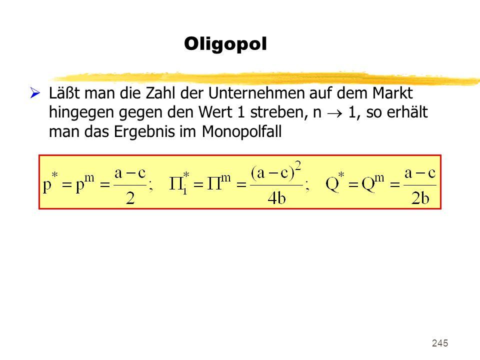 Oligopol Läßt man die Zahl der Unternehmen auf dem Markt hingegen gegen den Wert 1 streben, n  1, so erhält man das Ergebnis im Monopolfall.