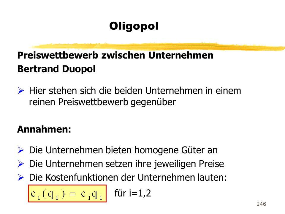 Oligopol Preiswettbewerb zwischen Unternehmen Bertrand Duopol