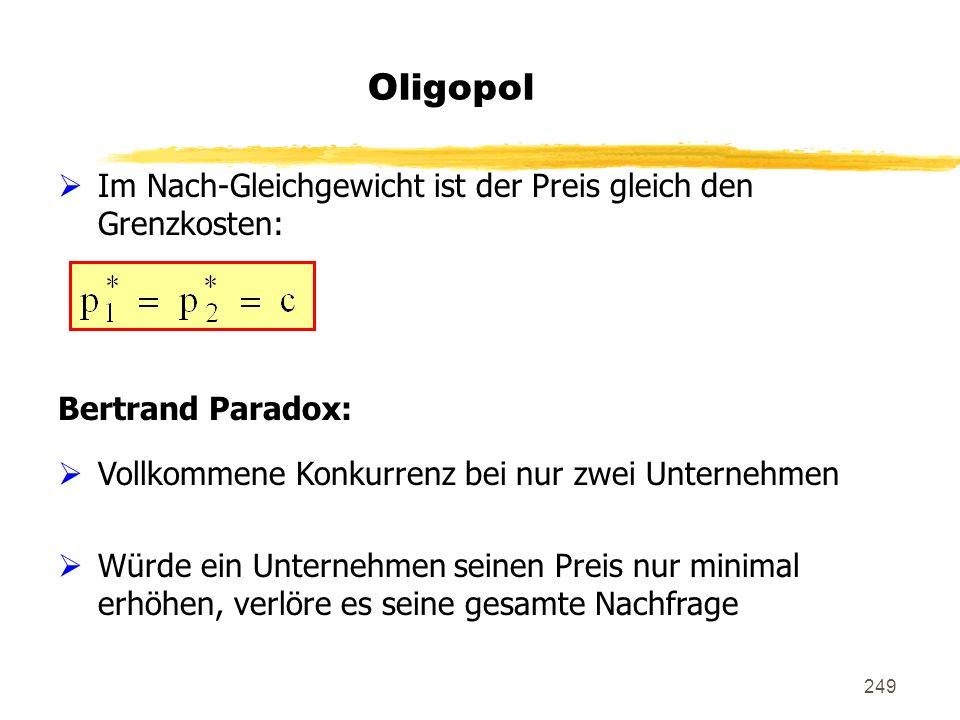 Oligopol Im Nach-Gleichgewicht ist der Preis gleich den Grenzkosten: