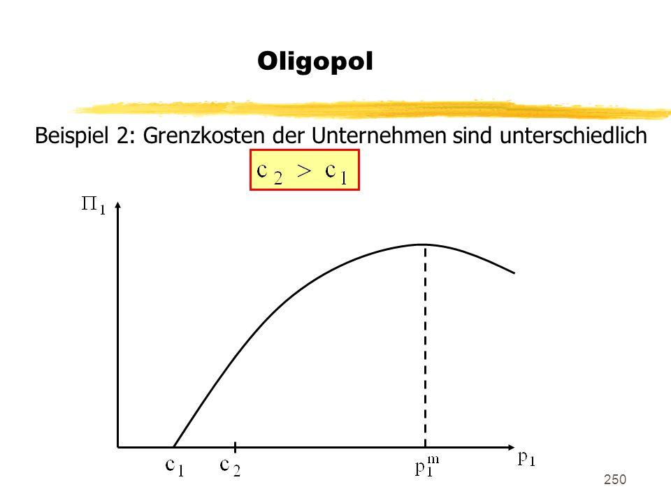 Oligopol Beispiel 2: Grenzkosten der Unternehmen sind unterschiedlich