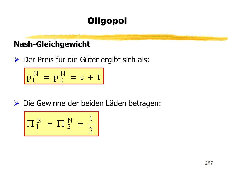 Oligopol Nash-Gleichgewicht Der Preis für die Güter ergibt sich als: