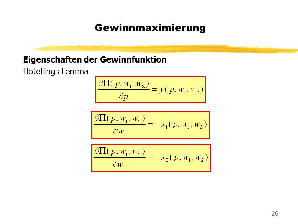 Gewinnmaximierung Eigenschaften der Gewinnfunktion Hotellings Lemma