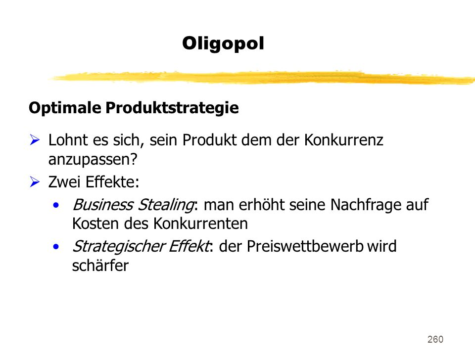 Oligopol Optimale Produktstrategie