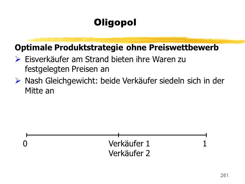 Oligopol Optimale Produktstrategie ohne Preiswettbewerb