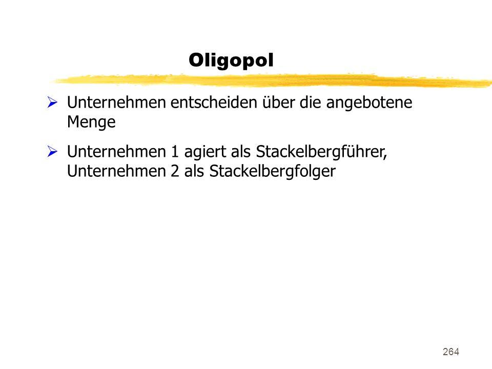 Oligopol Unternehmen entscheiden über die angebotene Menge