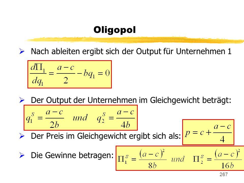 Oligopol Nach ableiten ergibt sich der Output für Unternehmen 1