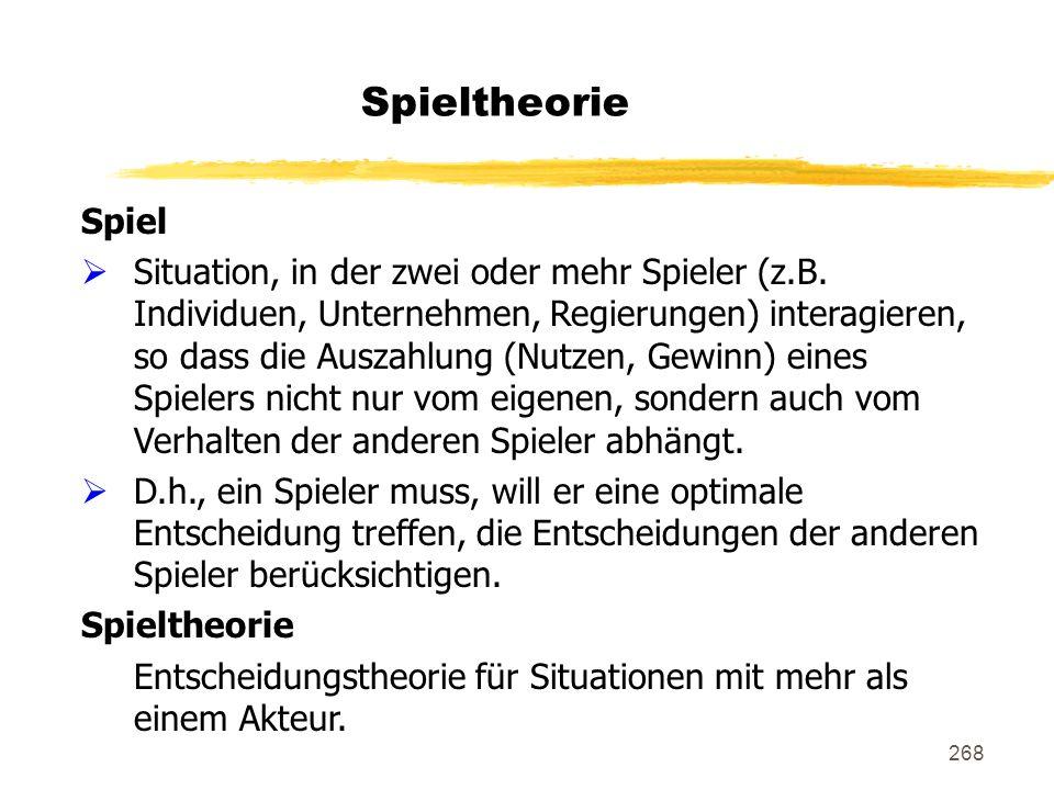 Spieltheorie Spiel.