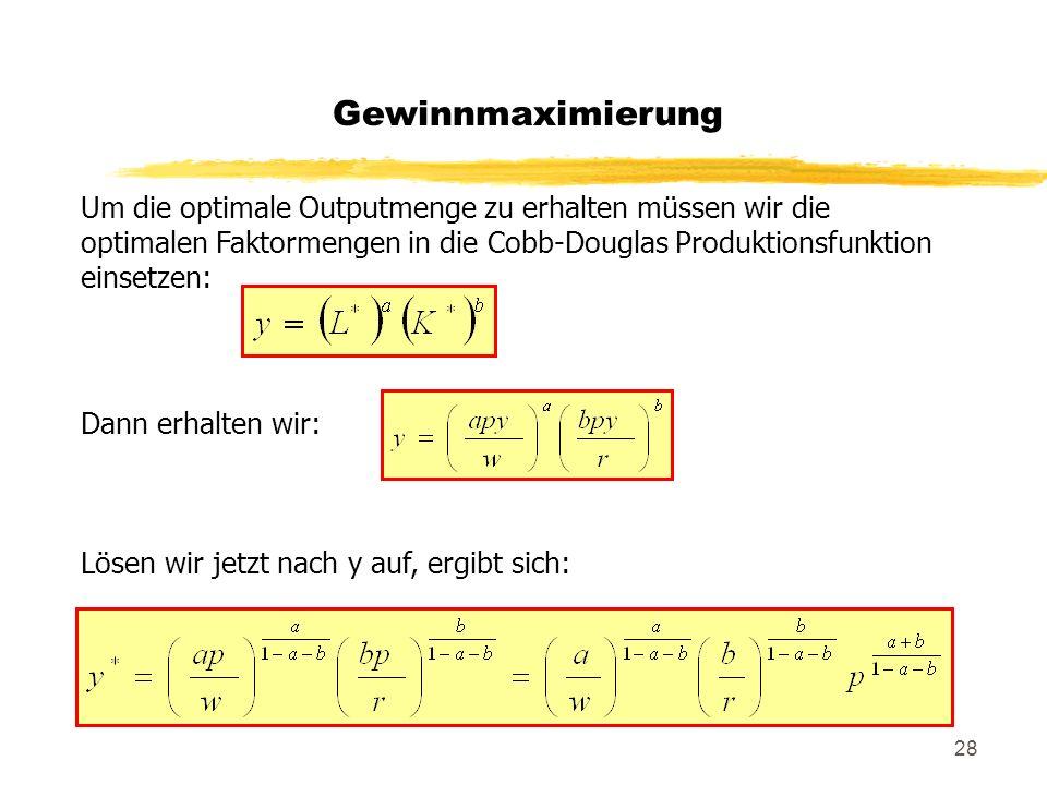 Gewinnmaximierung Um die optimale Outputmenge zu erhalten müssen wir die optimalen Faktormengen in die Cobb-Douglas Produktionsfunktion einsetzen: