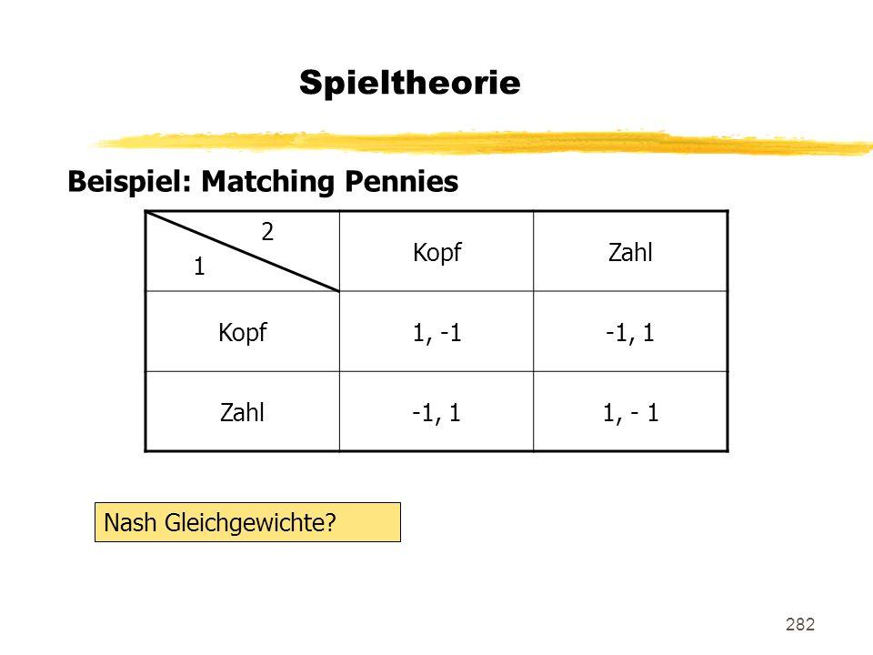 Spieltheorie Beispiel: Matching Pennies 2 1 Kopf Zahl 1, -1 -1, 1