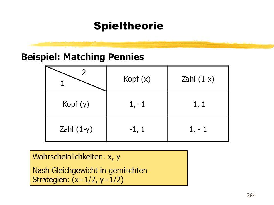 Spieltheorie Beispiel: Matching Pennies 2 1 Kopf (x) Zahl (1-x)