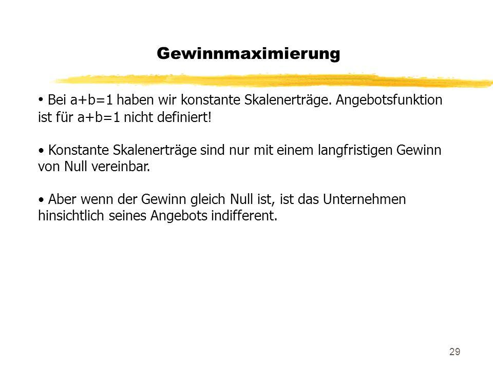 Gewinnmaximierung Bei a+b=1 haben wir konstante Skalenerträge. Angebotsfunktion ist für a+b=1 nicht definiert!