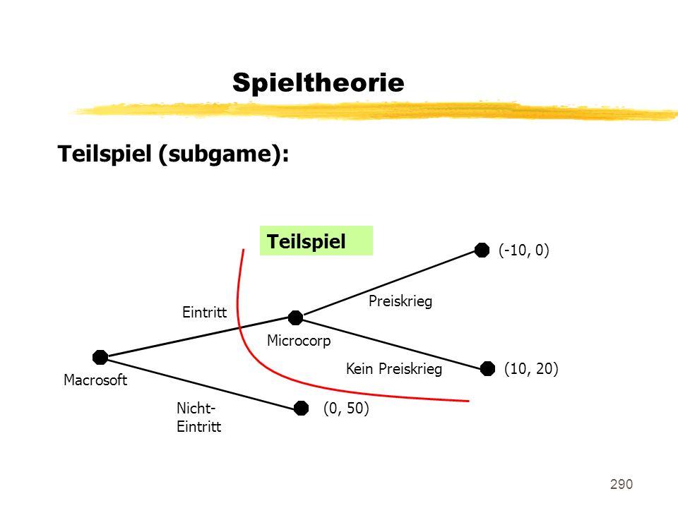 Spieltheorie Teilspiel (subgame): Teilspiel (-10, 0) Preiskrieg