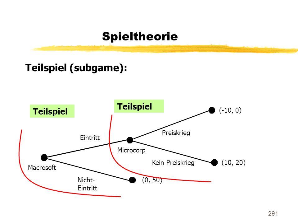 Spieltheorie Teilspiel (subgame): Teilspiel Teilspiel (-10, 0)