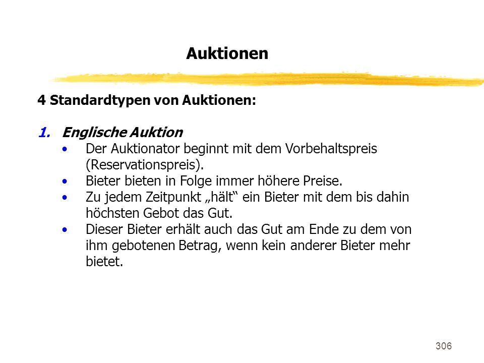 Auktionen 4 Standardtypen von Auktionen: Englische Auktion