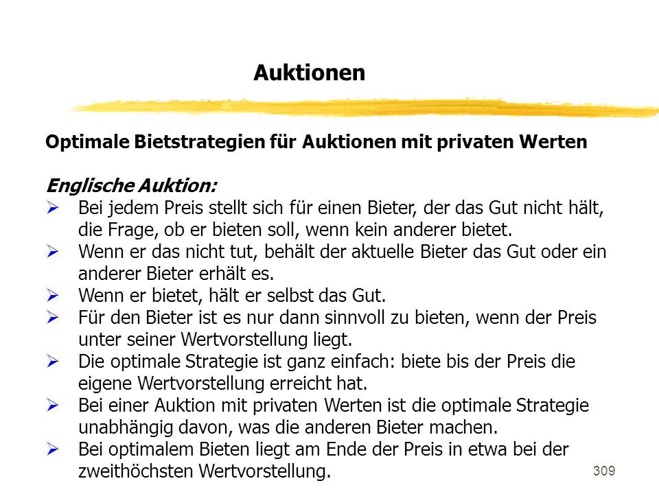 Auktionen Optimale Bietstrategien für Auktionen mit privaten Werten