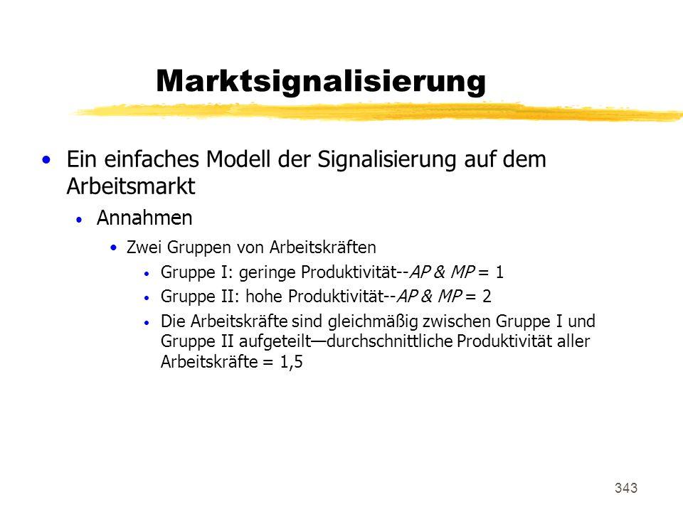 Marktsignalisierung Ein einfaches Modell der Signalisierung auf dem Arbeitsmarkt. Annahmen. Zwei Gruppen von Arbeitskräften.