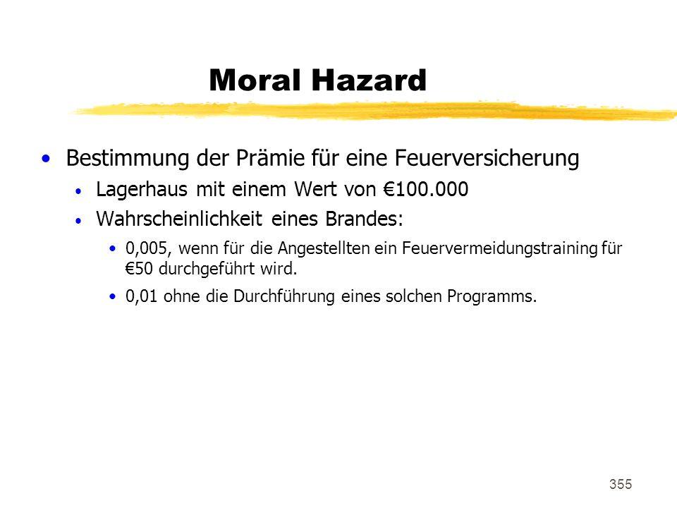 Moral Hazard Bestimmung der Prämie für eine Feuerversicherung