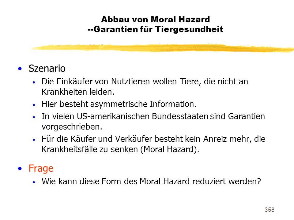 Abbau von Moral Hazard --Garantien für Tiergesundheit