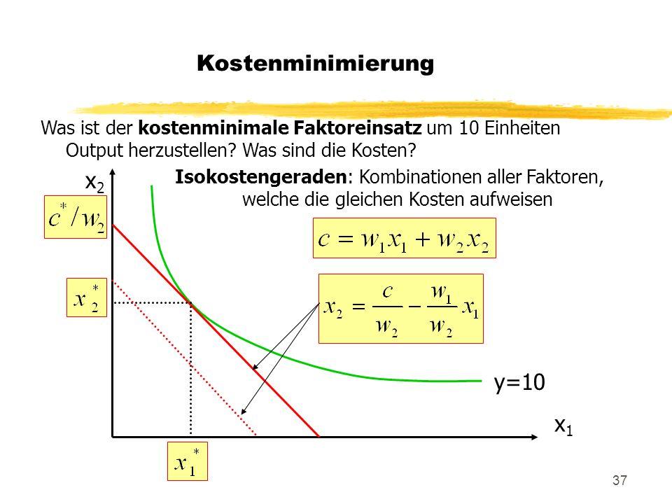Kostenminimierung x2 y=10 x1