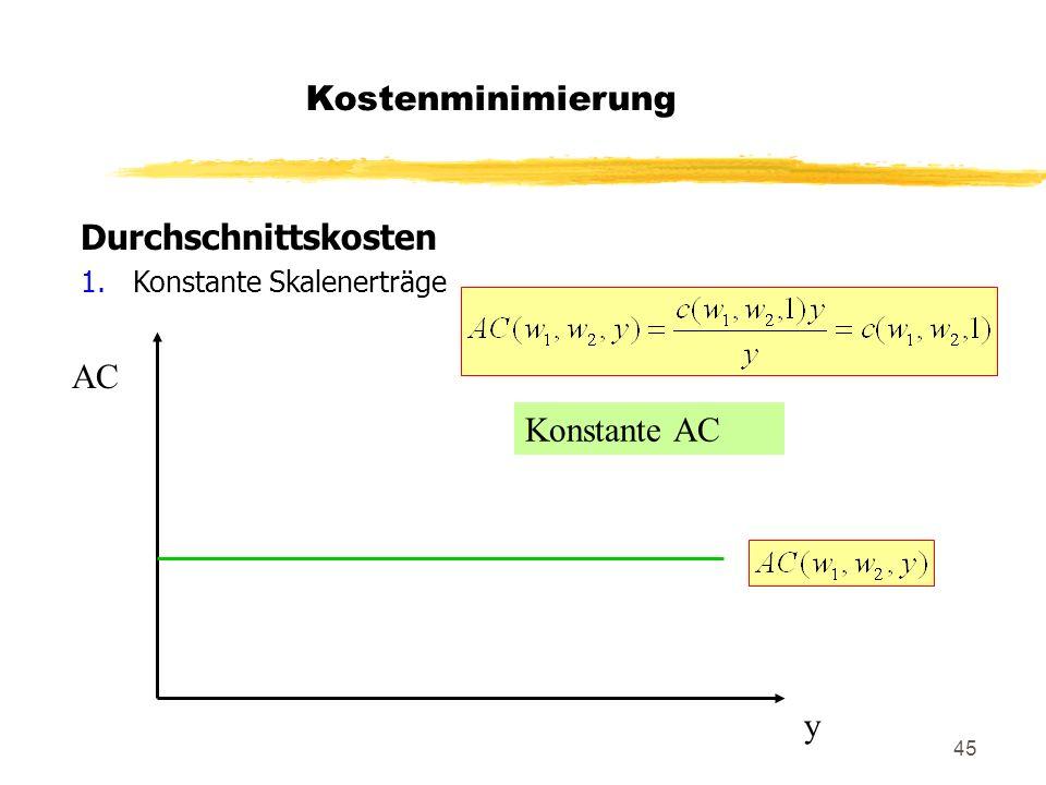 Kostenminimierung Durchschnittskosten AC Konstante AC y