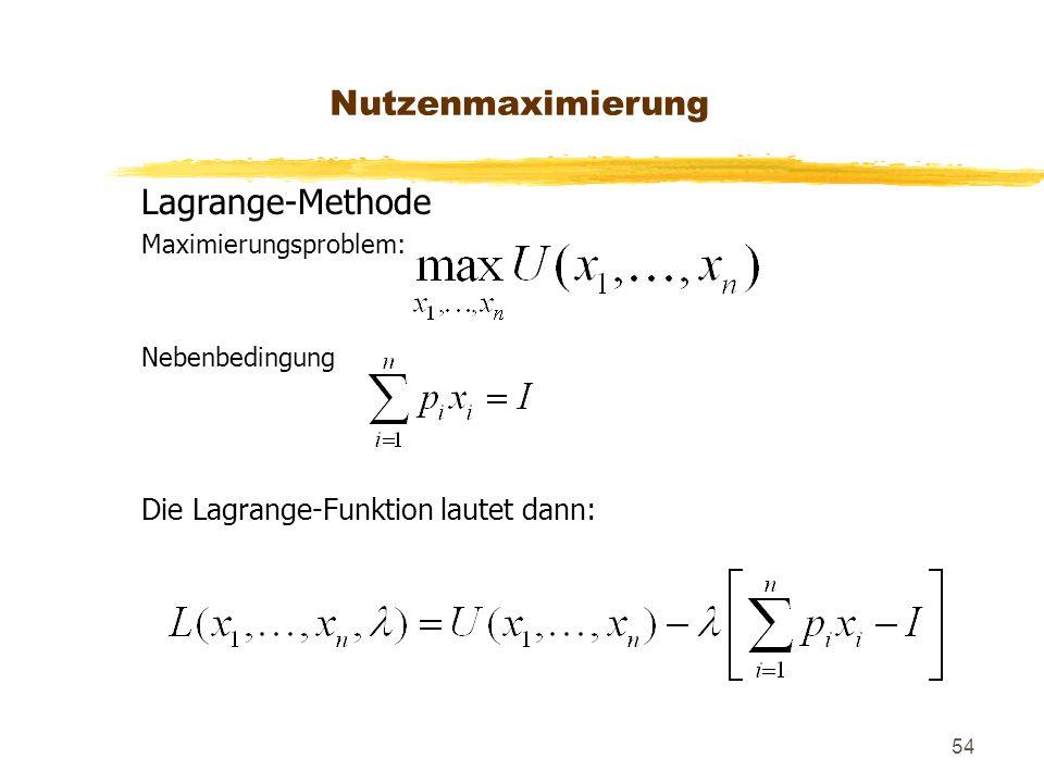 Nutzenmaximierung Lagrange-Methode Die Lagrange-Funktion lautet dann: