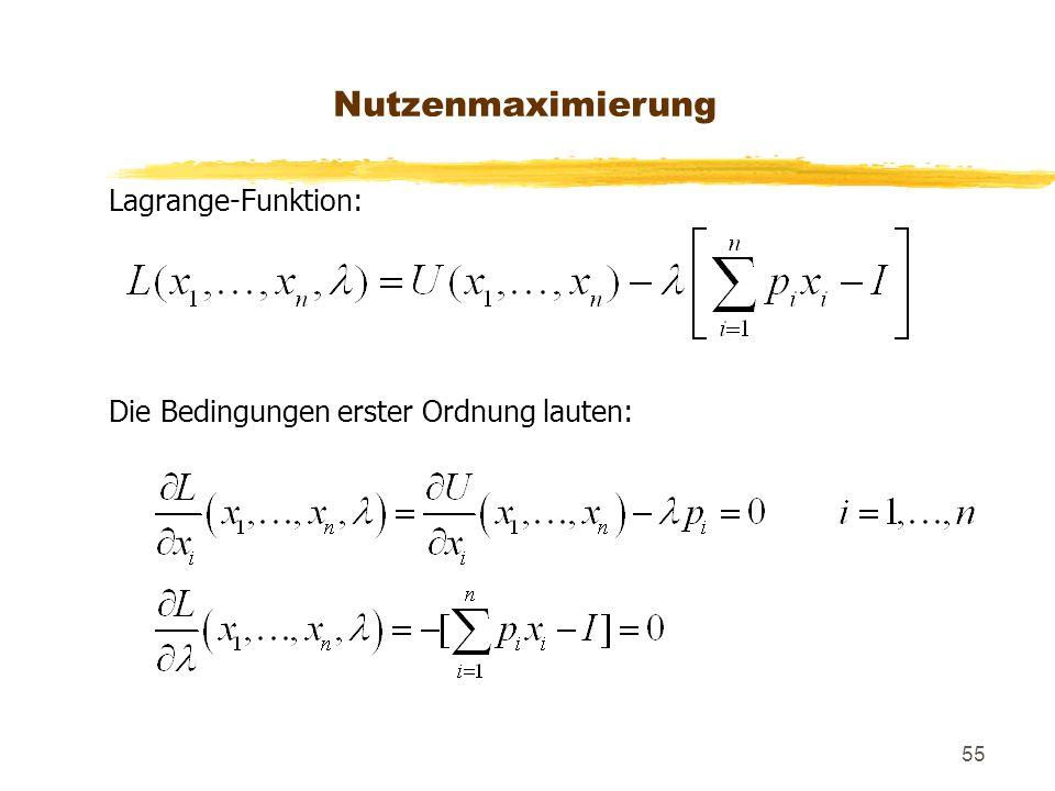 Nutzenmaximierung Lagrange-Funktion: