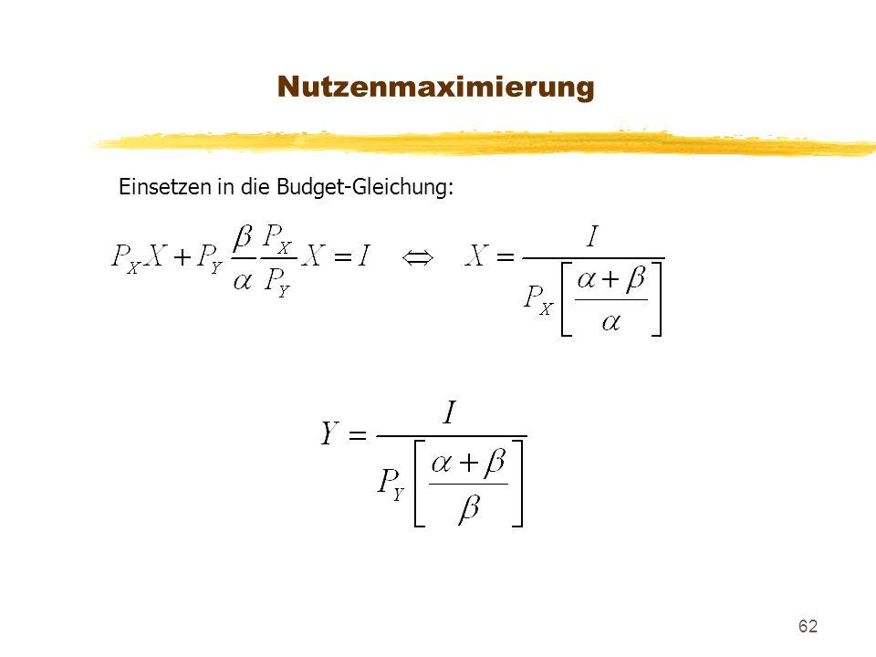 Nutzenmaximierung Einsetzen in die Budget-Gleichung: 148