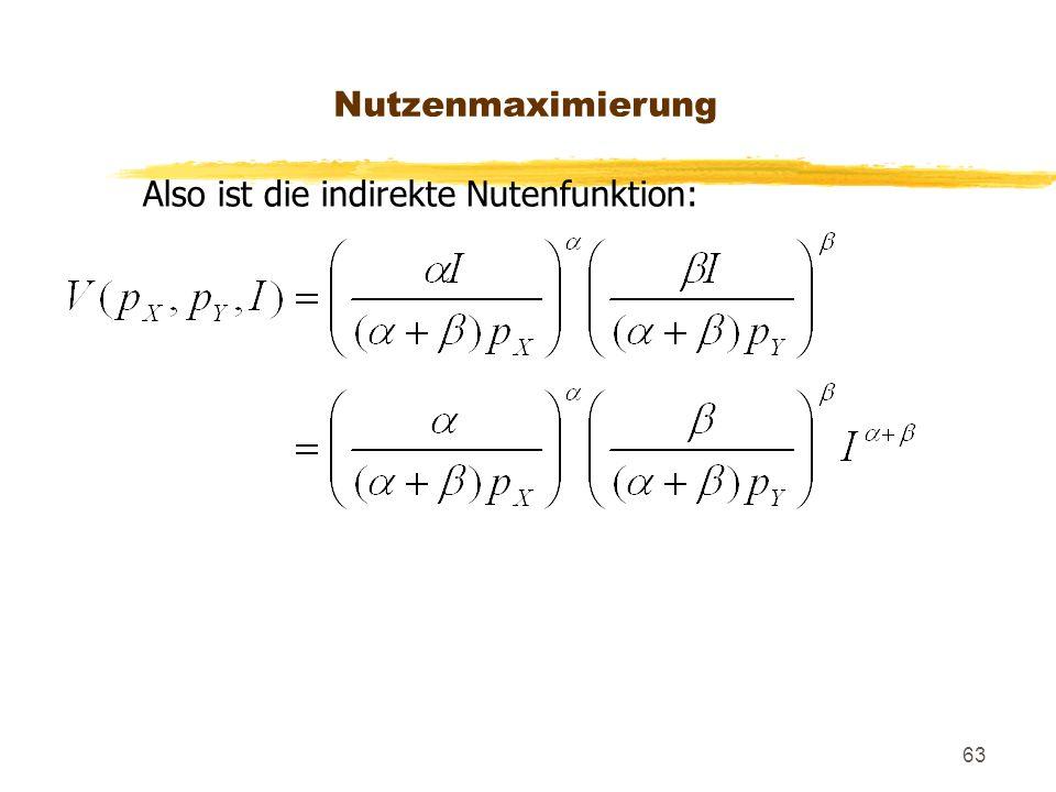 Nutzenmaximierung Also ist die indirekte Nutenfunktion: