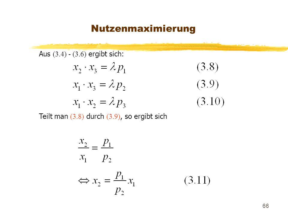 Nutzenmaximierung Aus (3.4) - (3.6) ergibt sich: